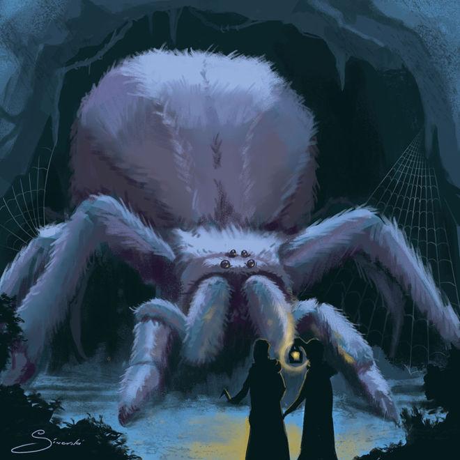 Illustration of Aragog for Harry Potter Trading Card Game