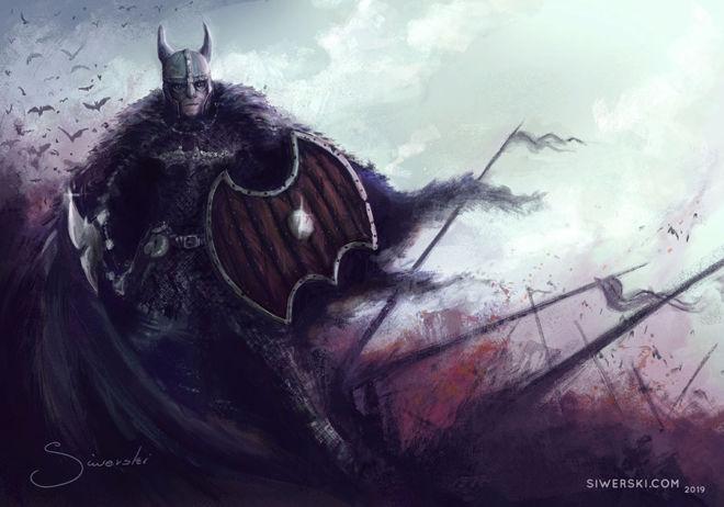 Illustration of a Batman as a viking warrior