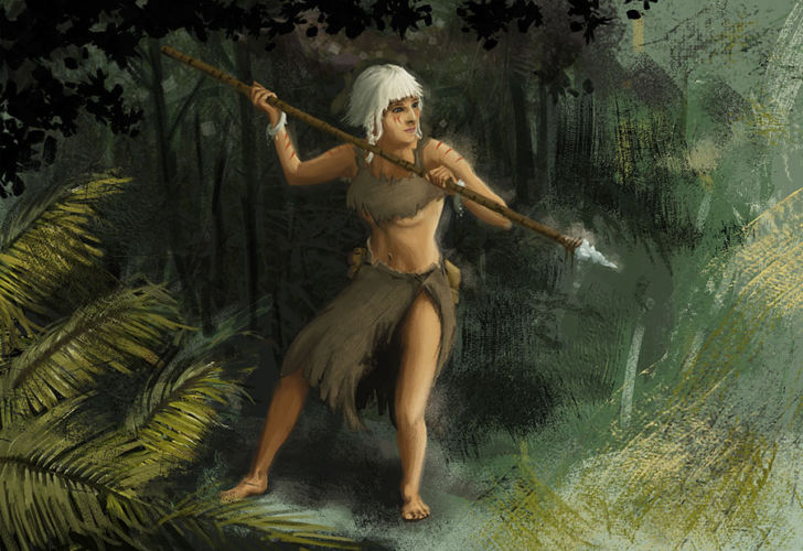 Illustration of a huntress in the wilds