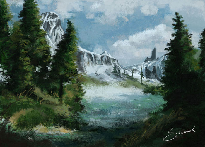 Illustration of forest in the mountains